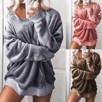 Womens Hooded Soft Velvet Jumper Pullover V neck Sweatshirt Oversize Coat Jacket
