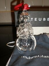 Steuben Glass Snowman Ornament Christmas Holiday with Bag & Box - Mint Condition
