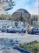 """Watercolor Original Painting 11"""" x 15"""" Palace Of Fine Arts at The Distance"""