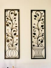 2 Handmade Metal Wall Art Decor Mural Trailing Vine Plant Leaves In Vase BRS