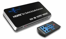 4K 5 Port Ultra HD 3D HDMI Splitter Switch Switcher Box with Audio Extracter