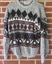 Vintage 80s 90s Sweater Impact Size Large L Crewneck Geometric