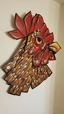Original Rhode Island Red Whimsical Chicken Wood Art Signed Adria B