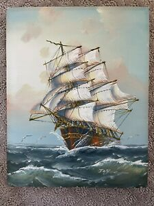 Vintage Hand Painted Seascape Sail Boat Canvas Art Mounted 8 X 10 Mounted