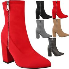 Womens Ladies Lycra Ankle Boots Stretch Block High Heel Shoes Casual Party Size