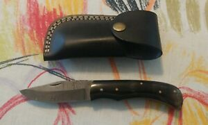 Damascus Steel Blade Slip joint Blade With Leather Snap Case Horn Plastic Scales