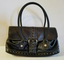 Micheal Kors Genuine Leather Black Silver Studded Shoulder Handbag Purse