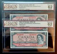 1954 Bank of Canada $2 Consecutive Pair of Replacement *B/B BCS UNC-62 BC-38bA