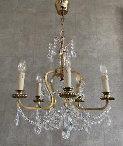 KRONLEUCHTER KRISTALLLÜSTER DECKENLEUCHTE LAMPE 5 FLAMMIG MESSING GLASBEHANG
