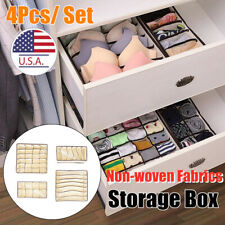4X Foldable Cloth Storage Box Closet Dresser Drawer Organizer Fabric Baskets Bin