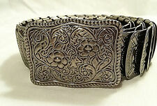 Women's Metal Belt Antiqued Silver Overlaping Metal Tiles Stretched 1 Size