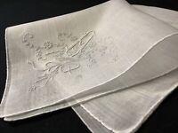 "#6701🌟Antique 1880s French Figural FAN& Monogram ""A"" Wedding Linen Handkerchief"