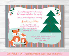 Woodland Girl Fox Momma & Baby Printable Baby Shower Invitation Editable PDF