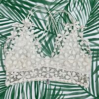 Intimately Free People Miss Dazie White Floral Lace Bralette Women's Size Small