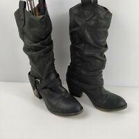 WOMENS ROCKET DOG FAUX LEATHER BLACK HEELED CALF HIGH BOOTS SHOES UK 5 EU 38