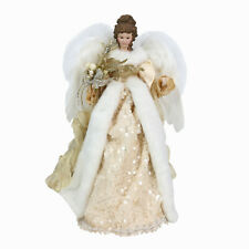 """Christmas Angel Tree Topper 16"""" Elegant w Gold & Sequin Accents & Feathery Wings"""