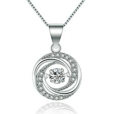 Sterling Silver Floating Dancing Zirconia CZ Stone Waterdrop Pendant Necklace A8