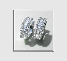Diamant Creolen Diamant Baguettes Brillanten18 K 750er Weißgold 3,70 Karat Neu