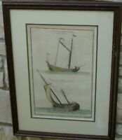 ANTIQUE FRENCH MARINE SAILING PRINT EARLY 1800'S HAND PAINTED