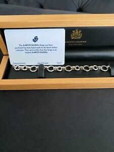 Immaculate Aaron Basha 18ct Double Bar Open - Link White Gold Charm Bracelet