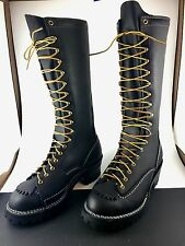 """Wesco Highliner 9716100 Black Leather 16"""" Lace-to-Toe 10 D Linesman Boots"""