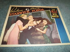 THE MAD MISS MANTON(1938)HENRY FONDA BARBARA STANWYCK ORIG LOBBY CARD