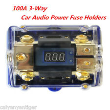 3-Way Car Audio Power Fuse Holder Stereo Distribution Block Fusebox /LED Display
