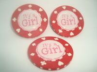 "#3 three "" It's A Girl "" 3D design Poker Chip, Golf Ball Marker, Card Guard   b"