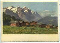 VINTAGE WETTERHORN EIGER SWISS ALPS HOUSES LITHOGRAPH SWITZERLAND COLOR PRINT B