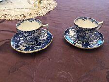 ROYAL CROWN DERBY Blue Mikado 2 Demitasse Cup & Saucer sets