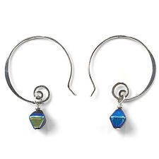 Jody Coyote Earrings JC73 Heritage Collection HER-0113-07 hoop silver blue