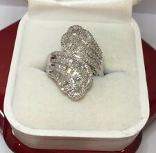 Huge Sterling Silver 2 Ct Diamond Cocktail Pave Cluster Wedding Large Ring 9 1/2