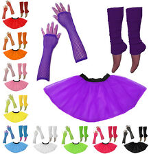 1980's Neon Uv Tutu Falda perneras Guante Gallina Flo Fiesta De Disfraces Costume Set