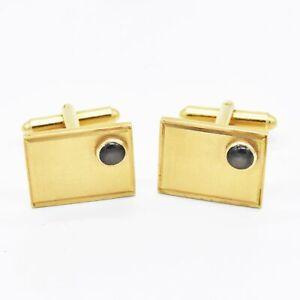 14k Yellow Gold Estate Black Star Sapphire Cufflinks