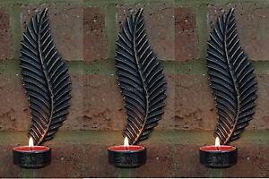 Pack of 3 Leaf Wall Sconces Black Copper Metal Tea Light Holder Shabby Chic New