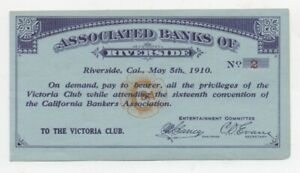 1910 Victoria Club Card from the California Bankers Association of Riverside CA