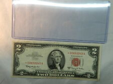 1963 A  $2 dollar US Note, RED Seal with STAR,  *00650040A   with Plastic holder