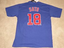 NWT, OFFICAL MLB CHICAGO CUBS THROWBACK SHIRT #18 SOTO, MAJESTIC, LGE, FAST SHIP