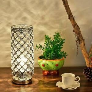 Modern Table Lamp Genuine Crystal Dimmer Chrome Lounge Light Home UK