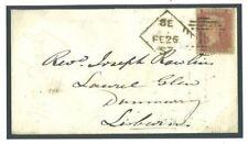 GB IRELAND Cover Dublin *8E* PAID ERASED SPOON Penny Red 1857 Lisburn J156b