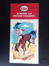 Rare ancien dépliant Brochure carte ESSO Alberta and British Columbia