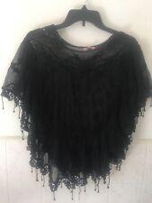 Lace Shear Poncho Top Sexy Tunic Black S M L Xl