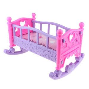 Baby Rocking Bed Nursery Cradle for Mellchan Dolls House Bedroom Furniture