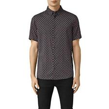 BNWT Mens All Saints Kapow Short Sleeve Shirt Size XS in Washed Black £80