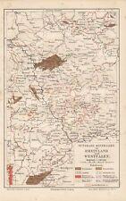 Nutzbare Mineralien  Rheinland und Westfalen Bergbau Landkarte 1910