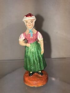 Vtg PUTZ Germany Christmas House Toy Railroad Native Costume Black Forest Woman