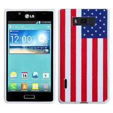 LG Optimus Showtime TPU CANDY Flexi Gel Skin Case Phone Cover US Flag accessory