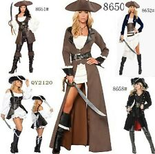 SEXY LINGERIE Faux Leather Pirate Ladies Fancy Dress Costume UK one Size 8-12