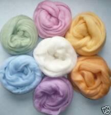 "1/2 oz ea 7 colors Easter lights Wool roving 25""/14 gr spin felt needle wet soap"