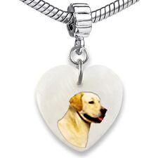 Labrador Retriever Dog Heart Mother Of Pearl European Bracelet Charm Bead EBS276